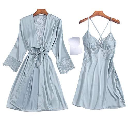 LEYUANA Ropa Interior Ahueca hacia Fuera elConjunto de Pijama de MujerSexy, camisón sin Espalda para Mujer + Albornoces Conjuntos de Bata y Bata de Dos Piezas Temptation XL bluegreyset