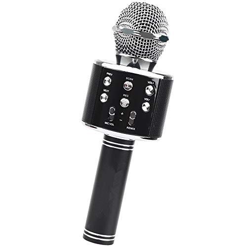 Voupuoda WS-858 Microfone de karaokê sem fio portátil, Player de karaokê portátil para celular Alto-falante HIFI Bluetooth embutido, Selfie 3-em-1 bateria de lítio recarregável Karaokê KTV MIC