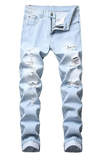Men's Ripped Distressed Destroyed Slim Fit Straight Leg Denim Jeans,Light Blue,Size 36