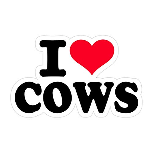 DKISEE 3 PCs I Love Cows - 4 inches Die-Cut Stickers Decals for Laptop Window Car Bumper Water Bottle
