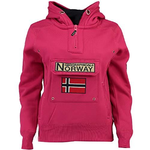 Geographical Norway GYMCLASS LADY - Damen Sweatshirt Hoody Und Taschen Känguru - Damen Sweatshirt Langarm - Pullover Winter - Hoodie Jacke Tops Sport Kapuzen Hoodies (ATTRAKTIVES ROSA M - GRÖSSE 2)