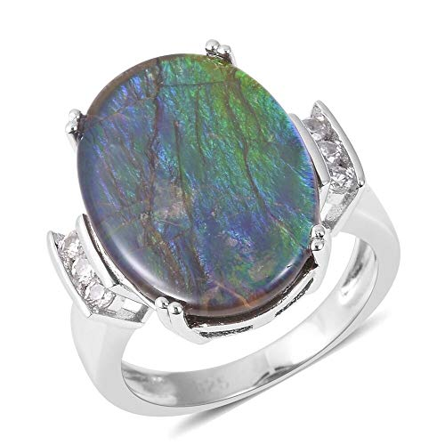 TJC AA Ammolite Solitaire Ring for Women 925 Sterling Silver White Zircon Size N, 6.7 Ct