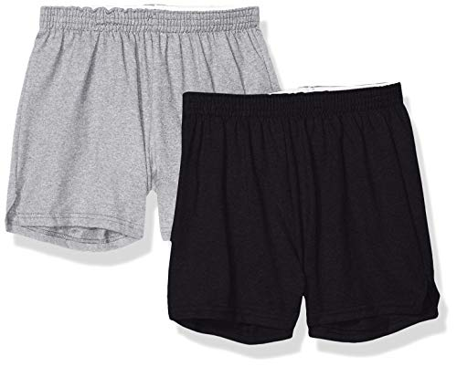 Soffe Juniors' Authentic Cheer Short, Oxford/Black, Medium (2-Pack)
