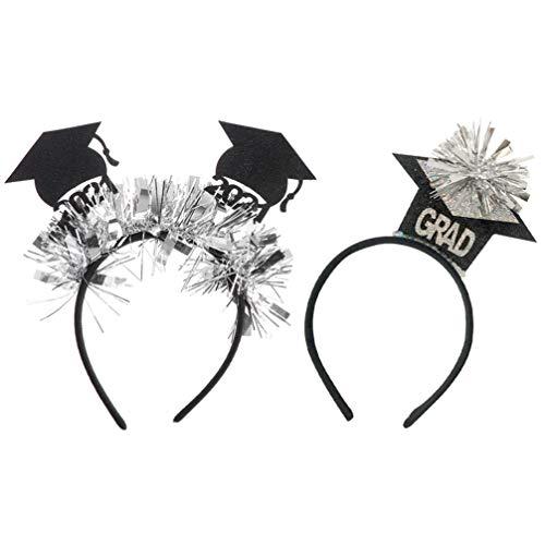 Gadpiparty 2 Piezas de Diadema con Aro para El Pelo de Graduacin para Fiesta de Graduacin Sombreros Tocado para Fiesta de Graduacin