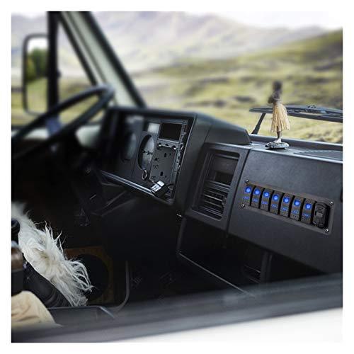 JIAQING DC 12V / 24V 7 Gang LED Toggle Rocker Switch Town Car Truck Car Truck Bus Buque Marino Circuit Circuitador Digital Voltímetro Dual USB Cargadores (Color : Green)
