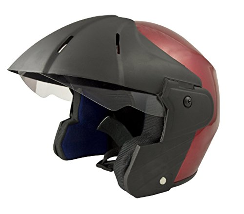 Benz Power (ISI Certified) Open Face Helmet (Red Glossy) (Medium)