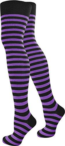 normani 1-10 Paar Damen Karneval Kostüm Fasching Baumwoll-Overknees Blickdicht Halterlose Strümpfe mit Streifen Farbe Schwarz/Lila Größe 2 Paar