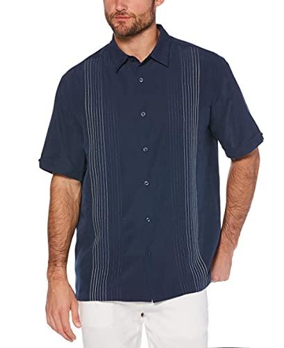 Cubavera Men's Striped Panel Dobby Button Down Shirt, Dress Blues, XX-Large