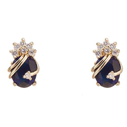 Yazilind Pendientes de oro elegante 18K plateó el circonio cúbico multicolor para la Mujer Azul real
