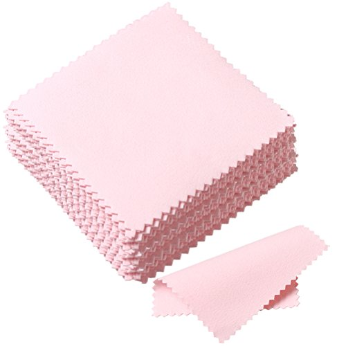 Pengxiaomei 50 Pack Jewelry Cleaning Cloth, Polishing Cloth for Sterling Silver Gold Platinum (Pink)