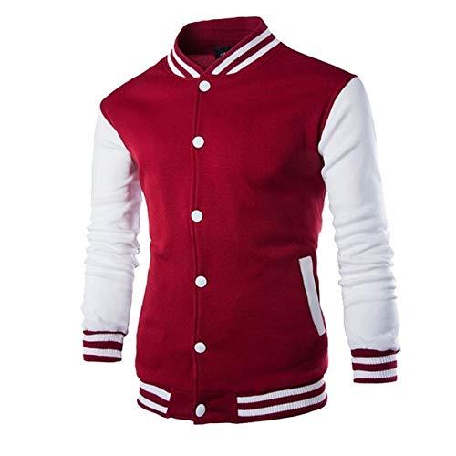 HNOSD Neue Männer/Junge Baseball Jacke Männer 2019 Mode Design Weinrot Herren Slim Fit College Varsity Jacke Männer Stilvolle Veste Homme W68 weinrot L