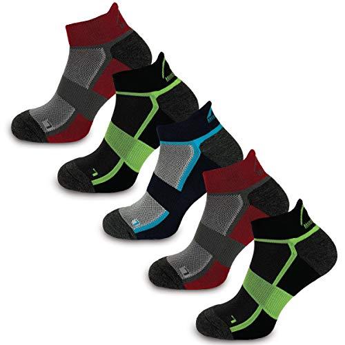 More Mile Calcetines de bambú cómodos para correr para hombre y mujer, acolchados, para entrenamiento deportivo (mixto 5 unidades, 8,5 – 10,5)