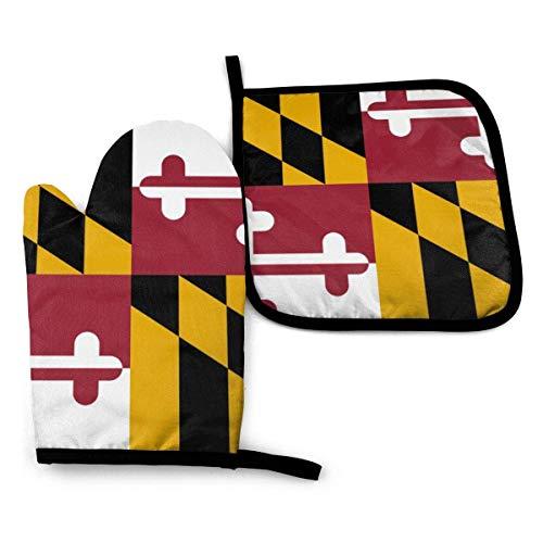 AEMAPE Conjunto de Manoplas y Porta ollas para Horno de Alta resolución con Bandera de Maryland, Guante de Horno Resistente al Calor para ollas para Hornear en la Cocina, Barbacoa