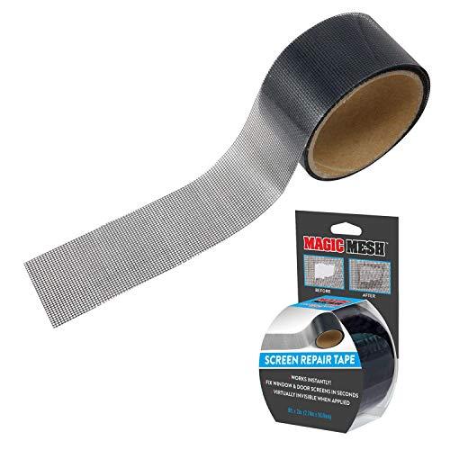 "Magic Mesh Screen Repair Tape- Strong Adhesive, Instantly Mend & Repair Holes and Tears in Screen Windows, Doors, RVs & More. Black, 9' x 2"""