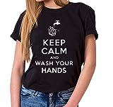 Wash Your Hands - T-Shirts Femme Keep Calm China Coronavirus CoVid-19 SARS-CoV-2 Corona Virus, Tasse:Noir, Taille:XX-Large