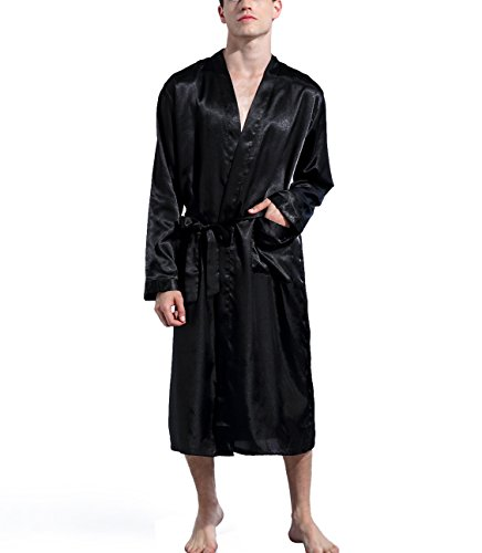 Admireme Men's Satin Kimono Robe Spa Bathrobes Loungewear Sleepwear Long Bathrobe Lightweight Silk Nightwear Black