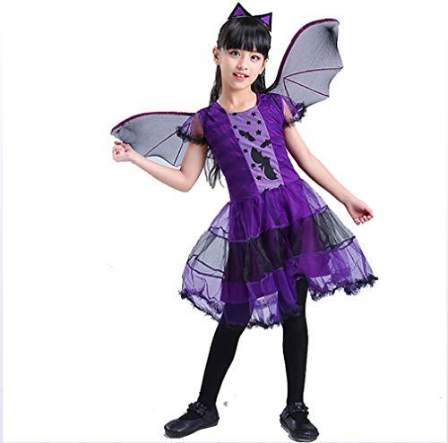 IAIZI Nette 3Pcs Mädchen Halloween Lila Bat Vampir-Prinzessin Dress Flügel Stirnband Cosplay Kindeinstellt Scary Clown Geist Hexe, 140 cm ZGHE
