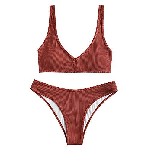 ZAFUL Damen Gepolsterte Bikini Set, Texturiert V-Ausschnitt High Cut Bikini Badeanzug Sommer (Ziegelrot,M)