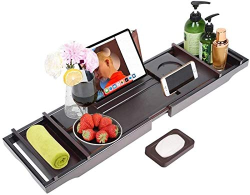 aipipl Bathtub Caddy Tray, Adjustable Bath Tray with Wine Holder,Extendable Non Slip Sides,for Book/Tablet Holder, Wine Glass Holder Soap Dish