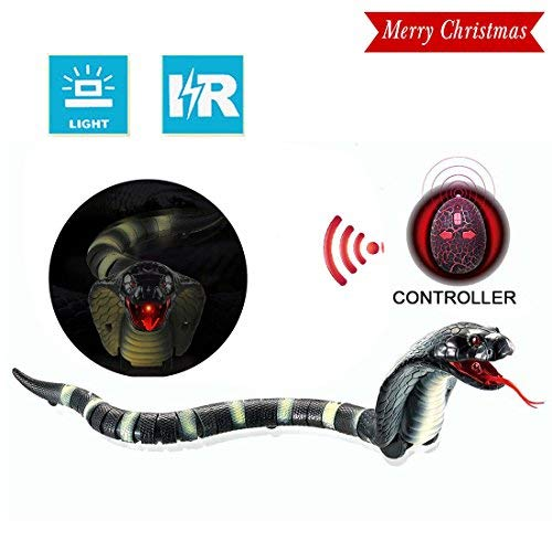 "[2018 NEWEST]17"" Remote Control Snake Toy,Unee1 Infrared RC Remote Control Chargeable Lifelike Realistic Naja Cobra Toy with Retractable Tongue and Swinging Tail for Kids Fun Entertainment Gifts-Black"