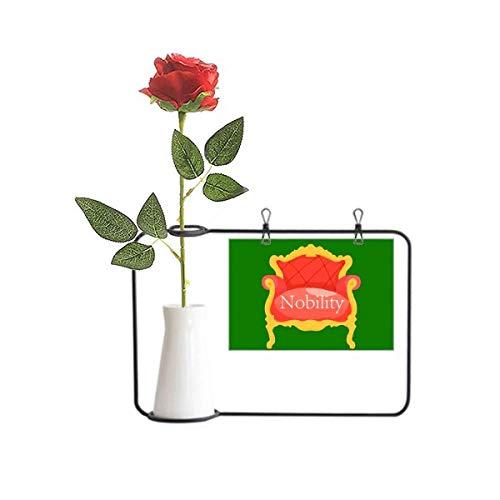 OFFbb-USA Aristocrático Trono Europeo Sofá Artificial Rosa Flor Colgante Jarrones Decoración Botella