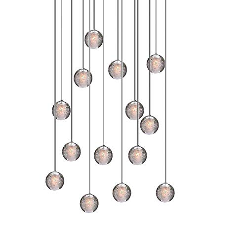 H.W.S LED Pendelleuchte Glas Kristall Hängeleuchte Lüster Dekoratives Kronleuchter Modern Pendellampe für Villa Treppe Wohzimmer Esszimmer Schlafzimmer (14-Flamming, Rectangular Plate)