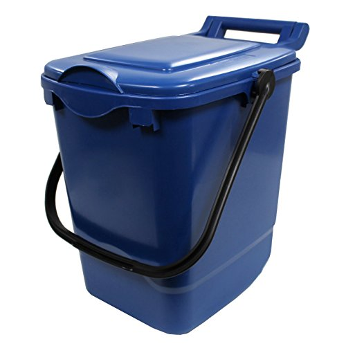 All-Green Large Compost Caddy - Blue - 23 Litre Plastic Kerbside Bin for Food Waste Recycling with Composting Guide (Available in Sets with Smaller Kitchen Caddies) (23L)