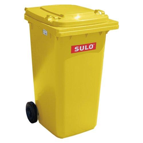 Müllbehälter, Inhalt 80 Liter, Farbe gelb, BxTxH 445 x 520 x 930 mm, Niederdruck-Polyethylen (PE-HD)
