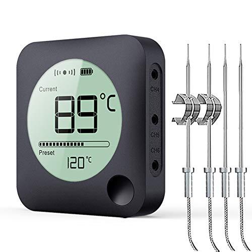 BFOUR Grille Bluetooth Thermometer Bratenthermometer mit Zeitmesser, 4 Temperaturfühlern Sonden Digital Grillthermometer Hintergrundbeleuchtung LED Display Sofortiges Auslesen (Mit 4 Sonden)