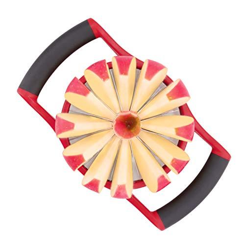 YYP Coupe-Pommes, Acier Inoxydable Tranchant 12-Convex Pommes Cutter Grande, Ergonomique Poignée en Plastique Antidérapant Poignées Légères Glacées, Compartiments de Fruits de Cuisine (Rouge)