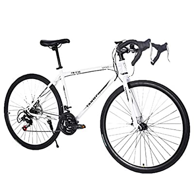 WudiTop ?Fast Delivery? Road Bike 700C Wheels 21 Speed Disc Brake Double Disc Brake Lightweight High Carbon Steel Frame Racing Bikes, Mens or Womens Bicycle Cycling (C)