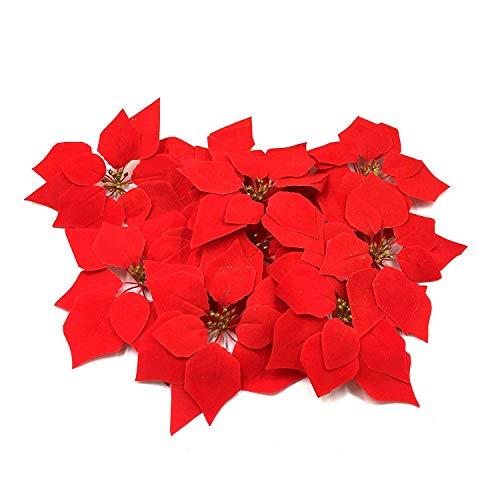 HMILYDYK 20PCS decorazione natalizia fiori artificiali rosso poinsettia albero di Natale ornamenti 20 pollici fiori rossi