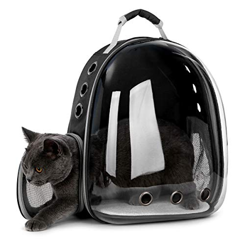 DoubleBlack Portador de Mascotas Mochila Transparente Perros y Gatos Portátiles Bolsa de Transporte al Aire Libre Diseño de Cápsula Transpirable Visitas Guiadas de 180 Grados - Negro