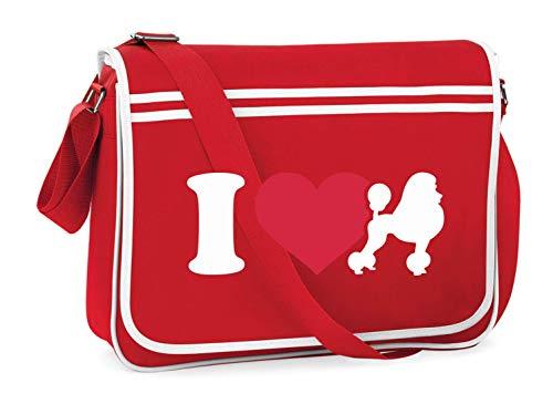 Druckerlebnis24 Schultertasche - I Love Pudel Pudle - Umhängetasche, geeignet für Schule Uni Laptop Arbeit