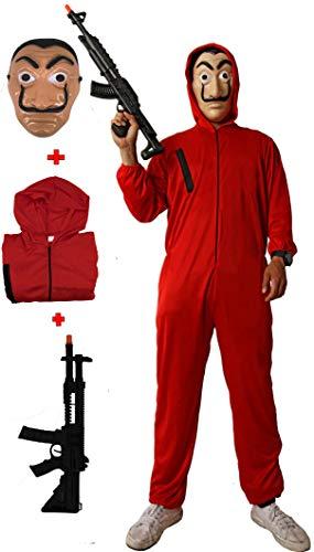 Gojoy shop- Disfraz, Máscara y Pistola de Casa de Papel Ladrón para Niños y Niñas Carnaval, Halloween (Contiene Máscara y Pistola, Mono con Capucha, 3 Tallas Diferentes) (7-9 AÑOS)