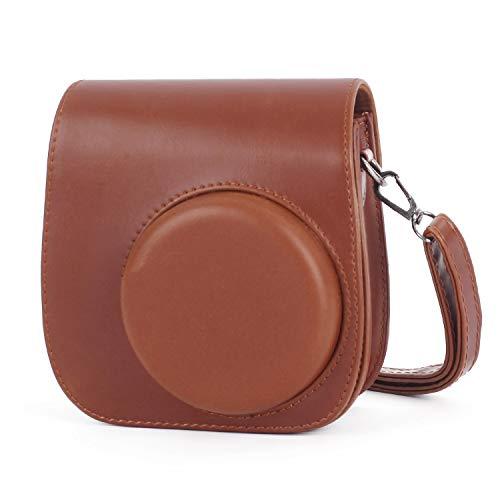 Leebotree Sofortbildkameras Tasche Kompatibel mit Instax Mini 11 Sofortbildkamera aus Weichem Kunstleder mit Schulterriemen und Tasche Braun