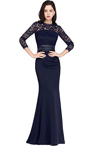 MisShow Damen Elegant Langes Abendkleid Ballkleider Spitzenkleider Brautjungferkleider 3/4 Arm- Gr. 46, Navyblau