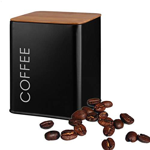 Kerafactum Kaffeedose mit Deckel | Dose für losen Tee Kaffee Zucker | Vintage Retro Style | Vorratsdosen Behälter aus Metall Cafe Bowl Zuckerdosen Teedosen schwarz | Bambus Deckel Silkon Dichtung