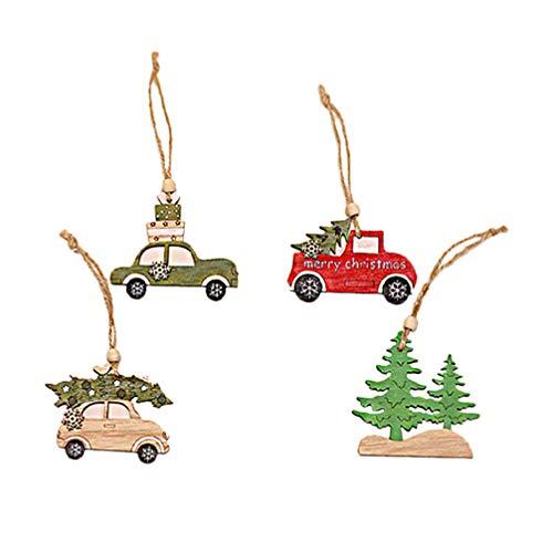 Wakauto 4PCS Creative Figurine Wooden Tree and Car Shape Pendant Christmas Theme Baubles Ornament Hanging Decoration