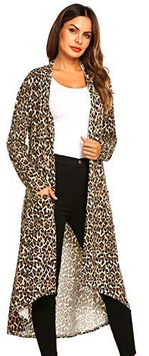 POGTMM Women's Long Sleeve Draped Lightweight Beach Cover up Spring Leopard Flowy Cardigans Sweaters(US S (4-6), Z Leopard)