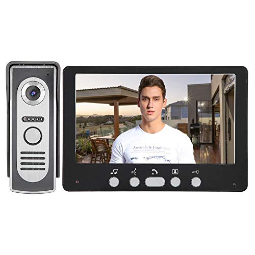 Sonnette vidéo 7 pouces, système d'interphone sans fil avec moniteurs de caméra TFT, système de vision nocturne d'interphone vidéo(EU)