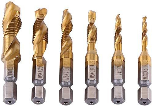 Titanium Threaded Drill Bits, 6 Piece Combination Bit Set Tap HSS 1/4 Hex Shank Screw Manual Metric Screws Plated M3 M4 M5 M6 M8 M10