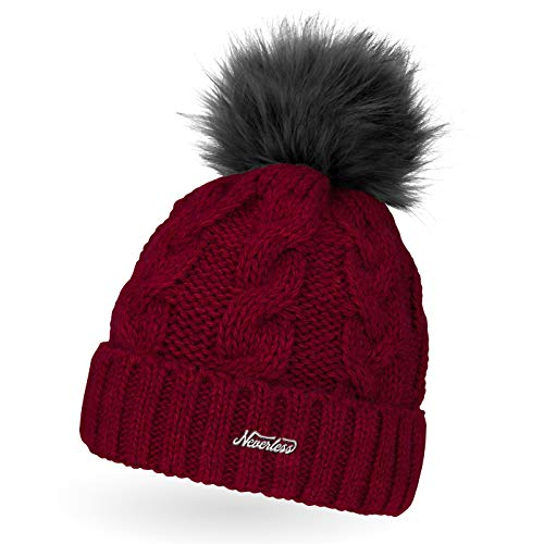 Neverless Damen Strick-Mütze gefüttert mit Fell-Bommel, Kunstfell, Winter-Mütze, Bommelmütze, Coral Unisize