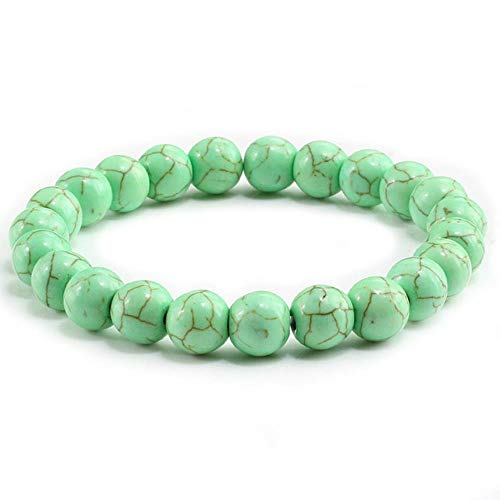 CHENSHUAI Pulseras de turquesas de Piedra Natural para Parejas, Pulseras y brazaletes con dijes para Hombres y Mujeres, joyería de Moda, Brazalete de oración para Hombres, Regalo, Verde Manzana