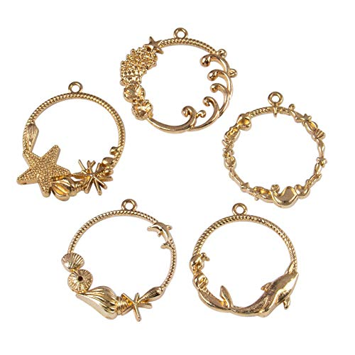AUEAR, 20 Pack Open Bezel Charms Gold Sea Theme Star Open Bezel Charm Open Back Frame Pendant ColorLasting Hollow with Loop for Resin Jewelry Making
