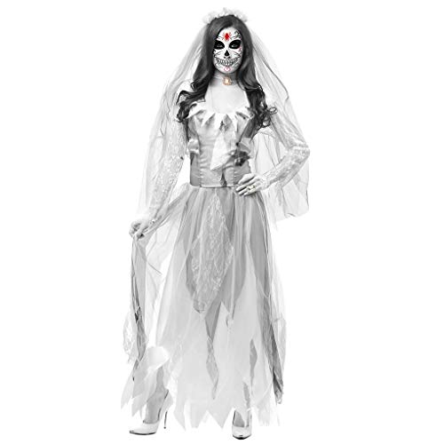 Le donne costume di Halloween Cosplay di orrore del fantasma morto cadavere zombie vestito da sposa Mengonee