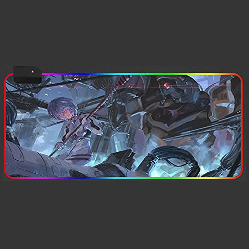 Evangelion Anime Large RGB XXL Gaming Mouse Pad LED Glowing Computer Keyboard Mat for Gamer Desk Mat 31.5x11.8 inches