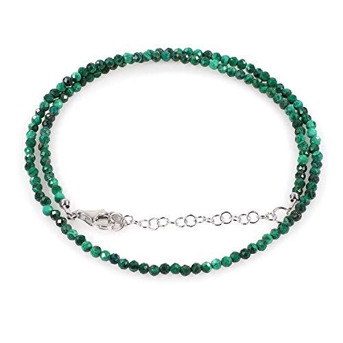 Collar de malaquita, collar de malaquita para su collar de piedras preciosas, collar de plata de ley, collar de cuentas para ella, regalo de cumpleaños y Navidad