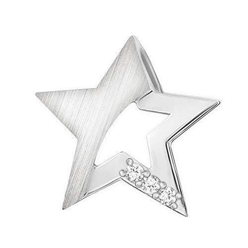 CLEVER SCHMUCK Silberner Damen Anhänger Stern 15 mm seidenmatt & glänzend mit 3 Zirkonia offene Form Sterling Silber 925 in Geschenkfaltbox