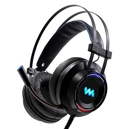 Auriculares estéreo para juegos de graves profundos con micrófono LED, auriculares para PC YXF99